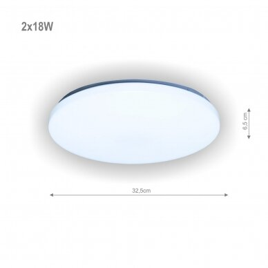 "Apvalus lubinis LED šviestuvas ""SOPOT"" 2x18W 2"