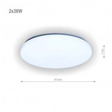 "Apvalus lubinis LED šviestuvas ""SOPOT"" 2x36W 2"