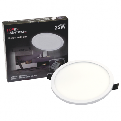 """Įmontuojama apvali LED panelė """"SPLIT"""" 22W 7"""