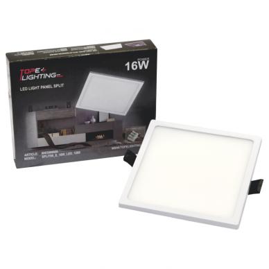 """Įmontuojama kvadratinė LED panelė """"SPLIT"""" 16W 7"""