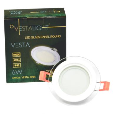 """Įmontuojamas apvalus LED šviestuvas su stiklu """"VESTA"""" 6W 2"""