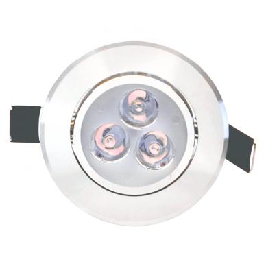 """Įmontuojamas apvalus metalinis LED šviestuvas """"LENS"""" 3W 3"""
