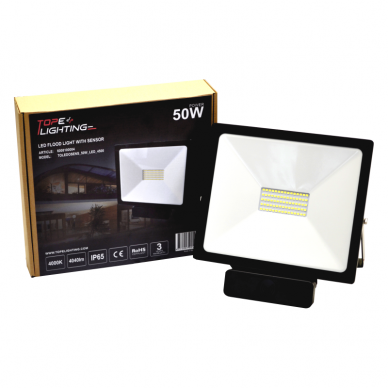 "LED floodlight with microwave sensor ""TOLEDOSENS"" 50W 7"