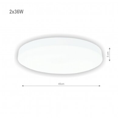 """Lubinis baltas LED šviestuvas """"BOSTON"""" 2x36W 2"""