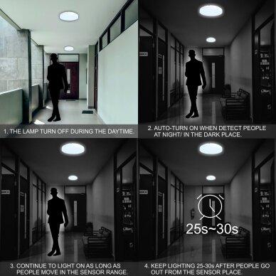 """Sieninis lubinis LED šviestuvas su mikrobangų davikliu """"RIOSENS"""" 18W 4"""